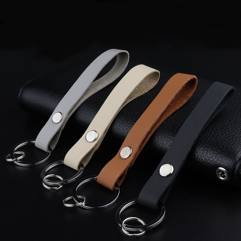 Fashion Metal Leather Car Keychain Key Chain Creative Key Holder Organizer Smart Key Wallet Keychain Pocket Ring