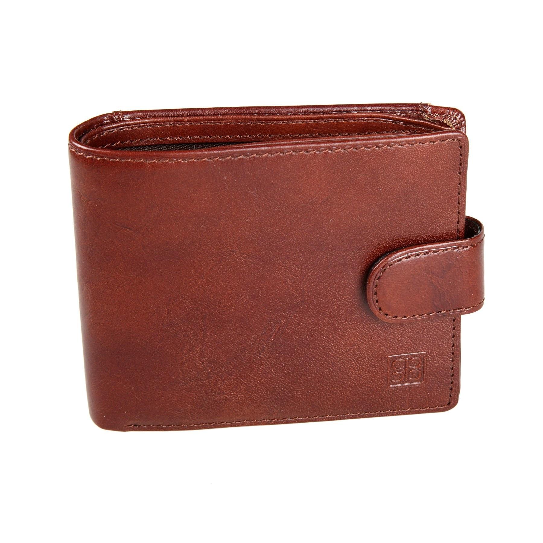 Coin Purse Sergio Belotti 2594 Milano Brown simple retro split leather coin purse w belt buckle brown