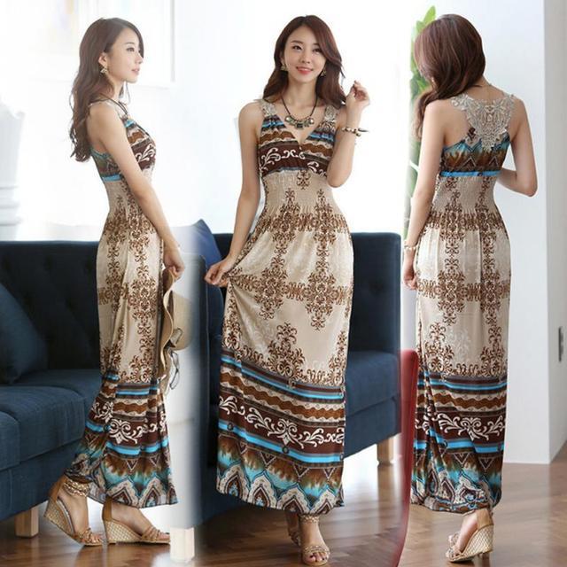 Summer Women Maxi Long Dress V- Neck Beach Printed Dress Women Sexy Sleeveless Bohemian Dress Vestidos 6