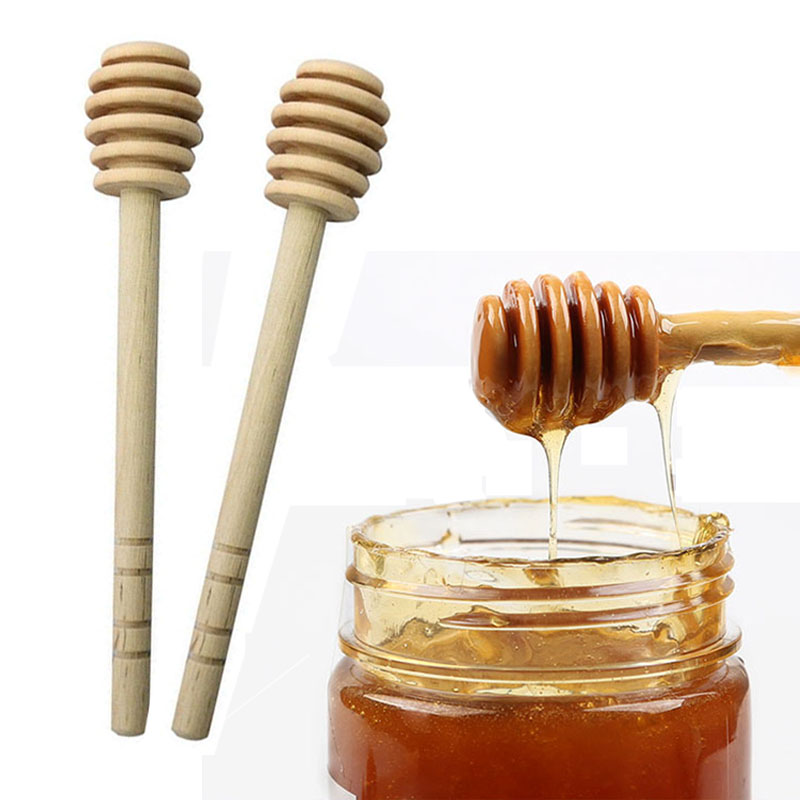 Spoon Honey Jar Long Kitchen Tools Supplies Stick 1Pc Handle For Honey Mixing Wood Dipper Practical