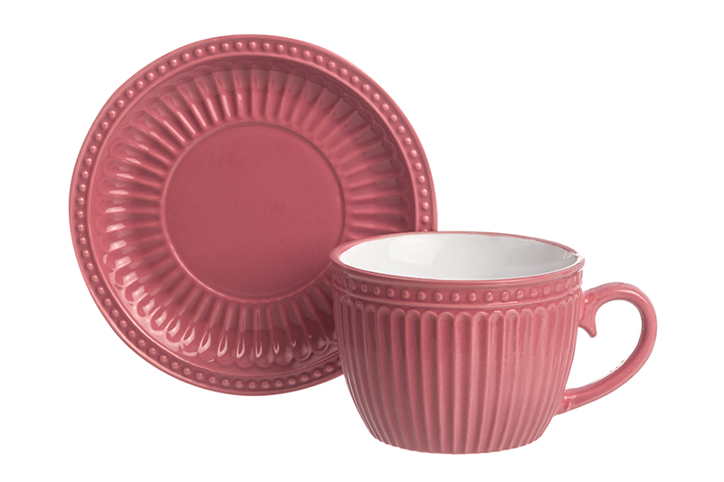 Available from 10.11 Cup with saucer for cappuccino and latte Pastel coral Elan Gallery 160040 saucer state
