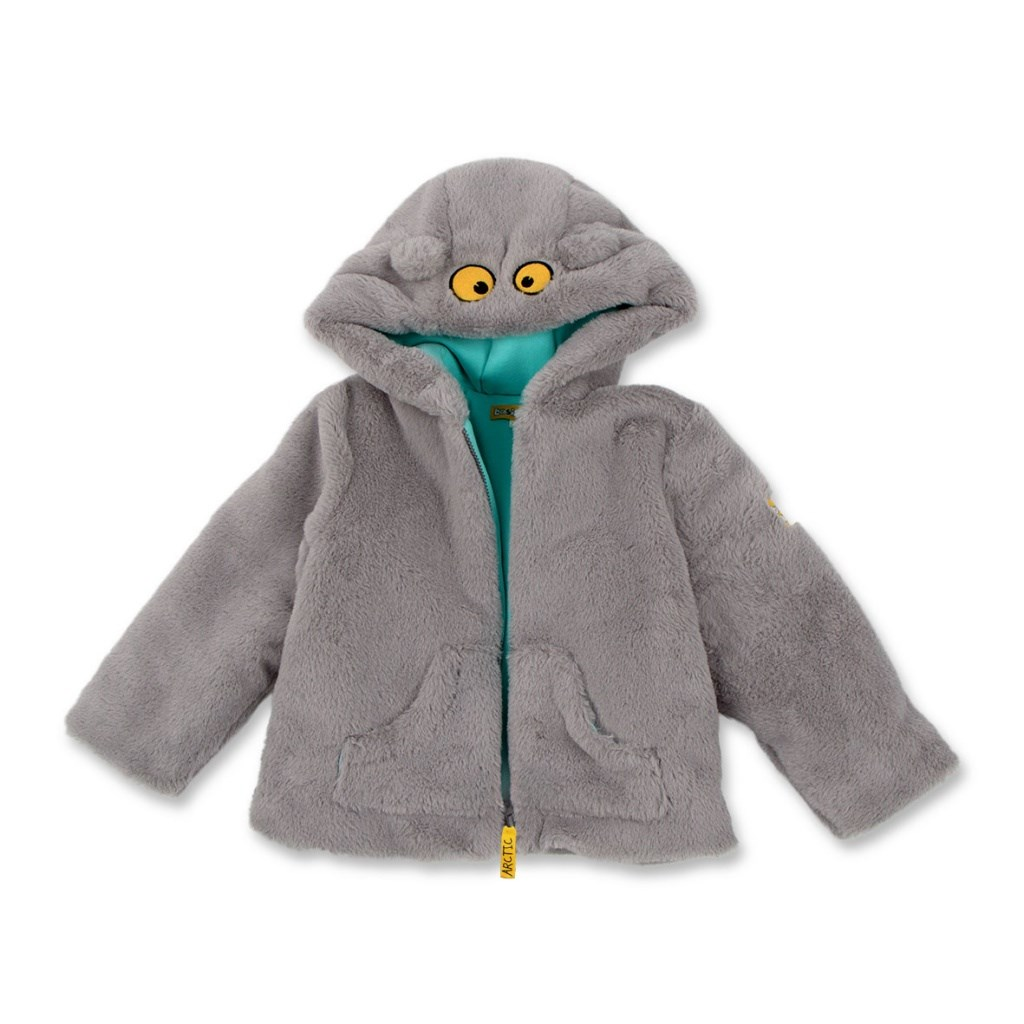 Basik Kids Jacket fur gray kids clothes children clothing basik kids hooded jacket gray