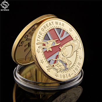 1914-1918 World War i Gold Plated Souvenir Coin The Great War 100th Anniversary Commemorative WW1 Challenge Coins saint michael the archangel commemorative challenge coins collection token art