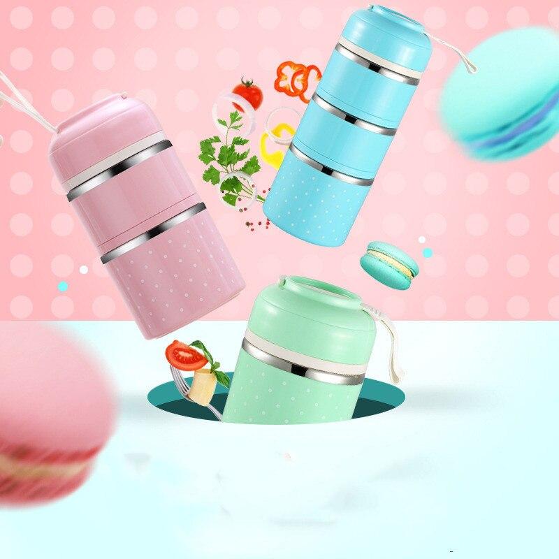 O Nível de 3 Bonito Japonês Lancheira Térmica à prova de Vazamento-Aço Inoxidável Bento Box Crianças Piquenique Portátil de Alimentação Escolar caixa recipiente