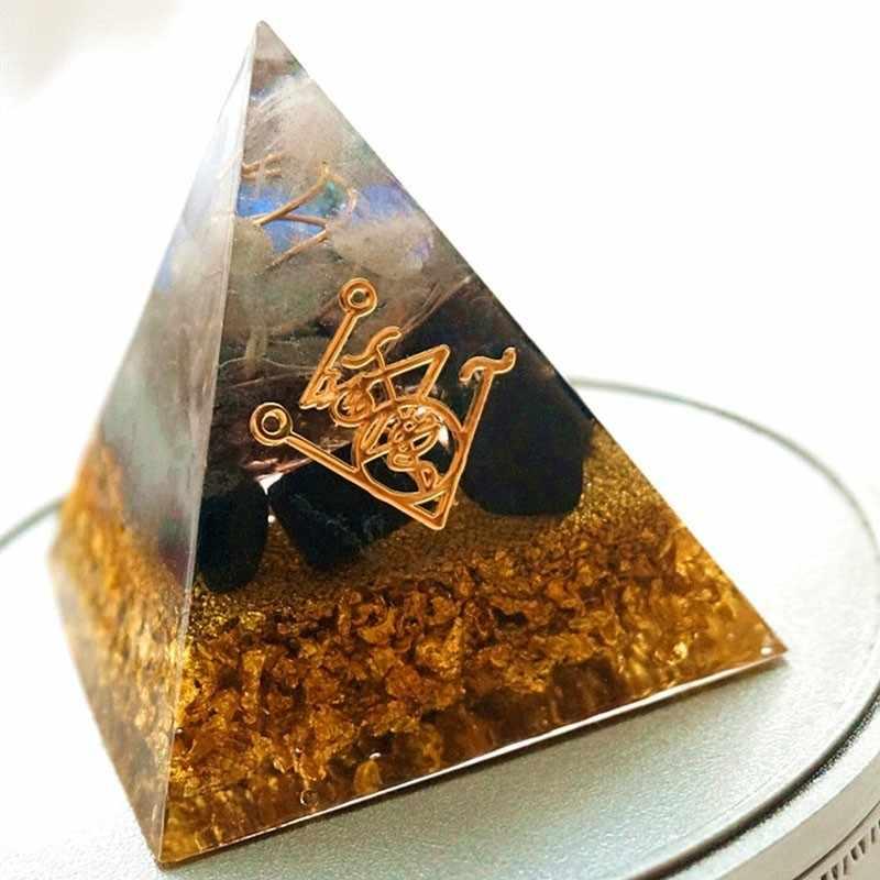Orgonite פירמידת Muladhara צ 'אקרה אובסידיאן טבעי קריסטל להדוף רוחות רעות פירמידת קישוט תהליך שרף מתנה
