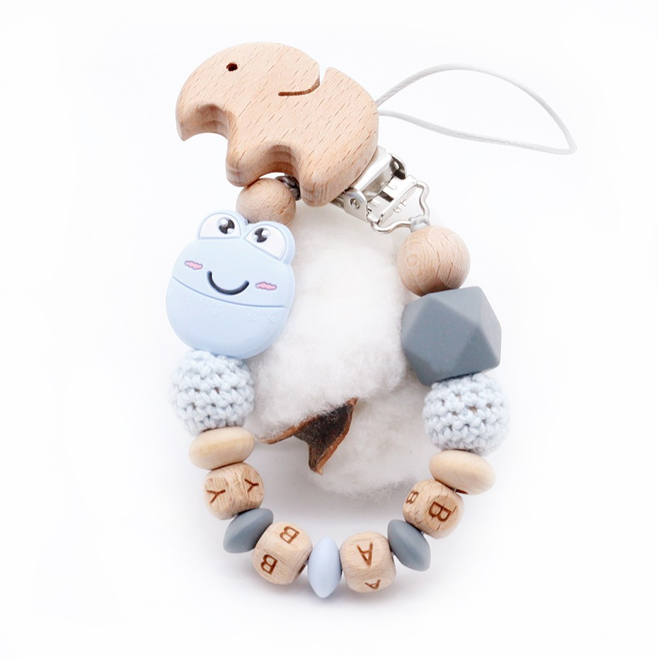 New Cartoon Cute Mini Smile Frog Plus Beech Elephant Clip DIY Baby Pacifier Clips Can Be Customized Name Toys Pacifier holder