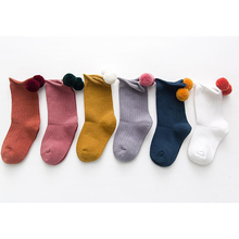 Sale Korean Soild color Cotton Boys Girls Socks Elastic wool ball Baby Kids Comfortable Gifts