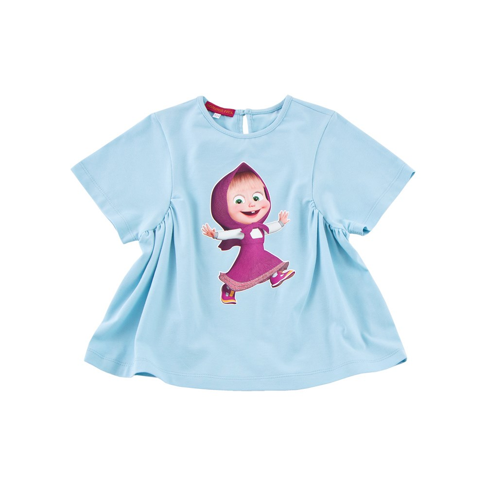 Masha and Bear Shirt tunic short sleeve blue kids clothes children clothing trendy eiffel tower print round neck short sleeve t shirt for women
