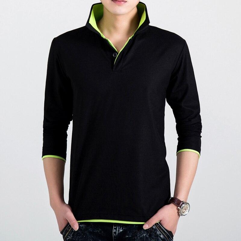 Мужская Повседневная рубашка поло с длинным рукавом, хлопковая рубашка поло с отложным воротником, высокое качество, осень 2019