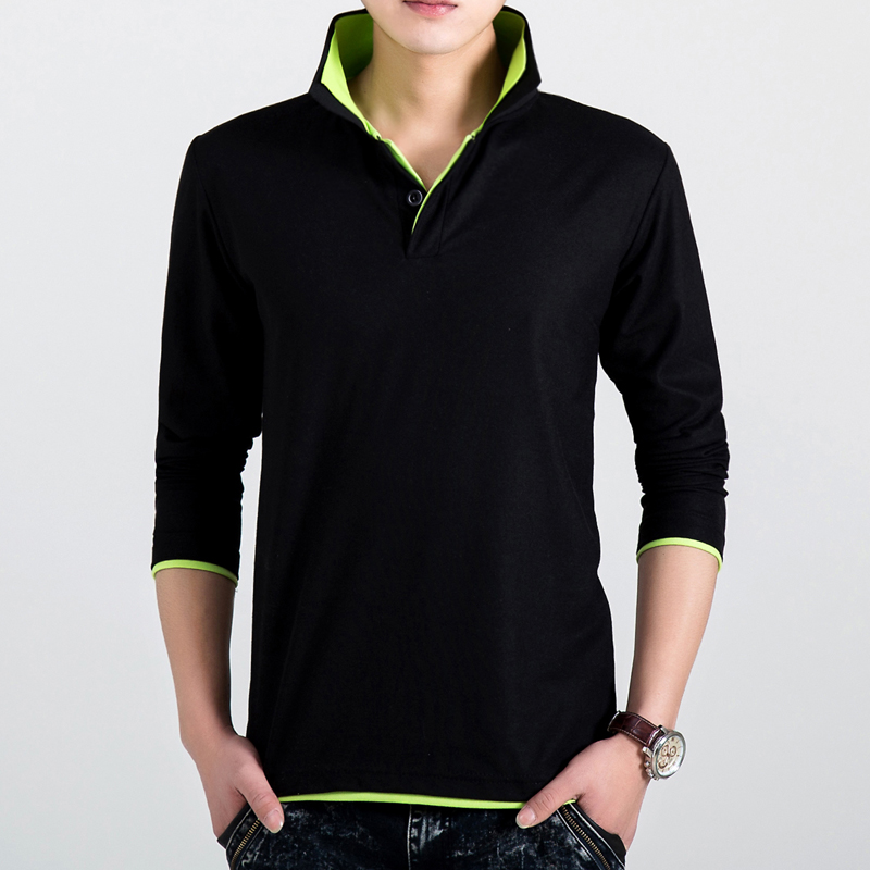 2019 outono nova moda polo camisa masculina, algodão casual manga longa polo camisas, masculino de alta qualidade turn-down colarinho polo camisa
