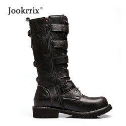 Jookrrix 2018 새로운 신발 남성 패션 브랜드 긴 마틴 부츠 높은 최고 남성 금속 장식 영국 스타일의 uomo footware입니다 버클