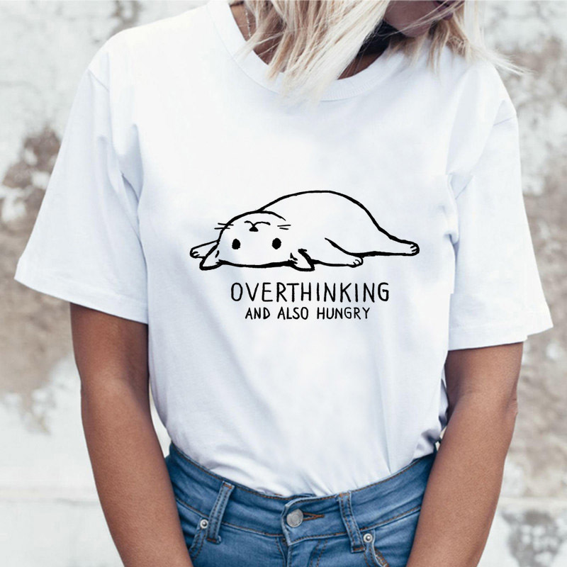 Funny Tee Female Print Ulzzang Satan Rude White Cartoon Women T-shirt Hippie T Shirt Top Japanese Graphic Graphic Tshirt