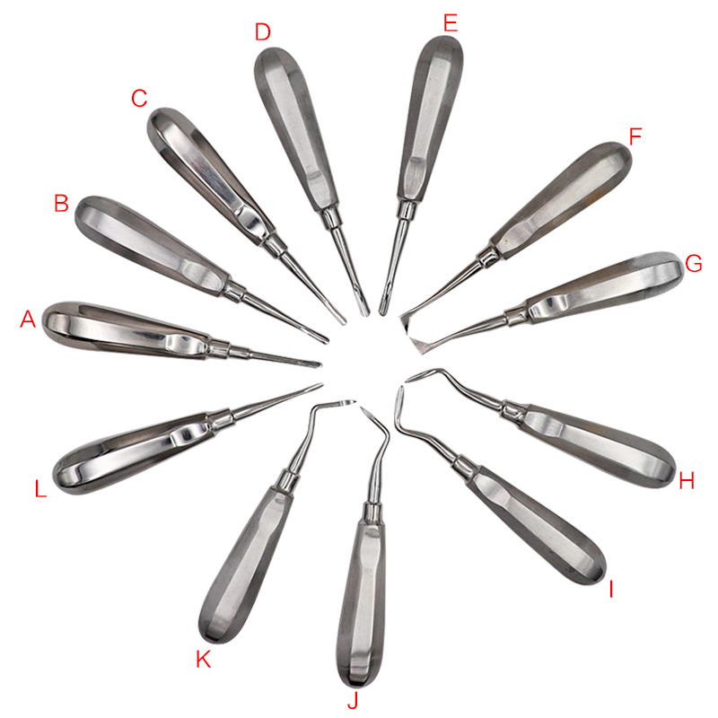 12Pcs Stainless Steel Dental Surgery Extracting Apical Root Elevator Dental Extracting Lift Root Elevator Instrument