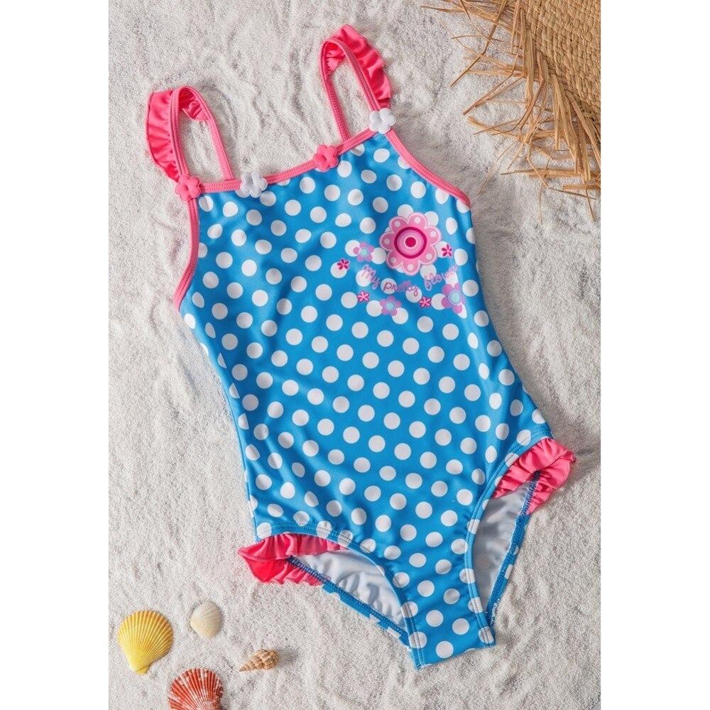 2019 Kids Swimsuits Girls Swimwear One Piece Bikini Blue Dot Princess Bathing Suit Children Swim Wear Biquini 4T-8T Top Quality