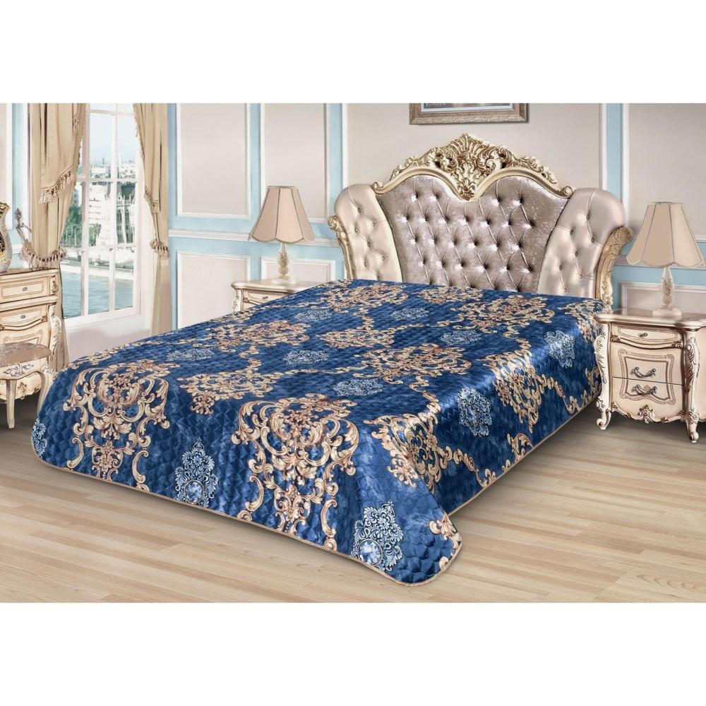 Bedspread Ethel Silk Monogram, size 150*220 cm, faux Silk 100% N/E flounce sleeve faux pearl beading lace top