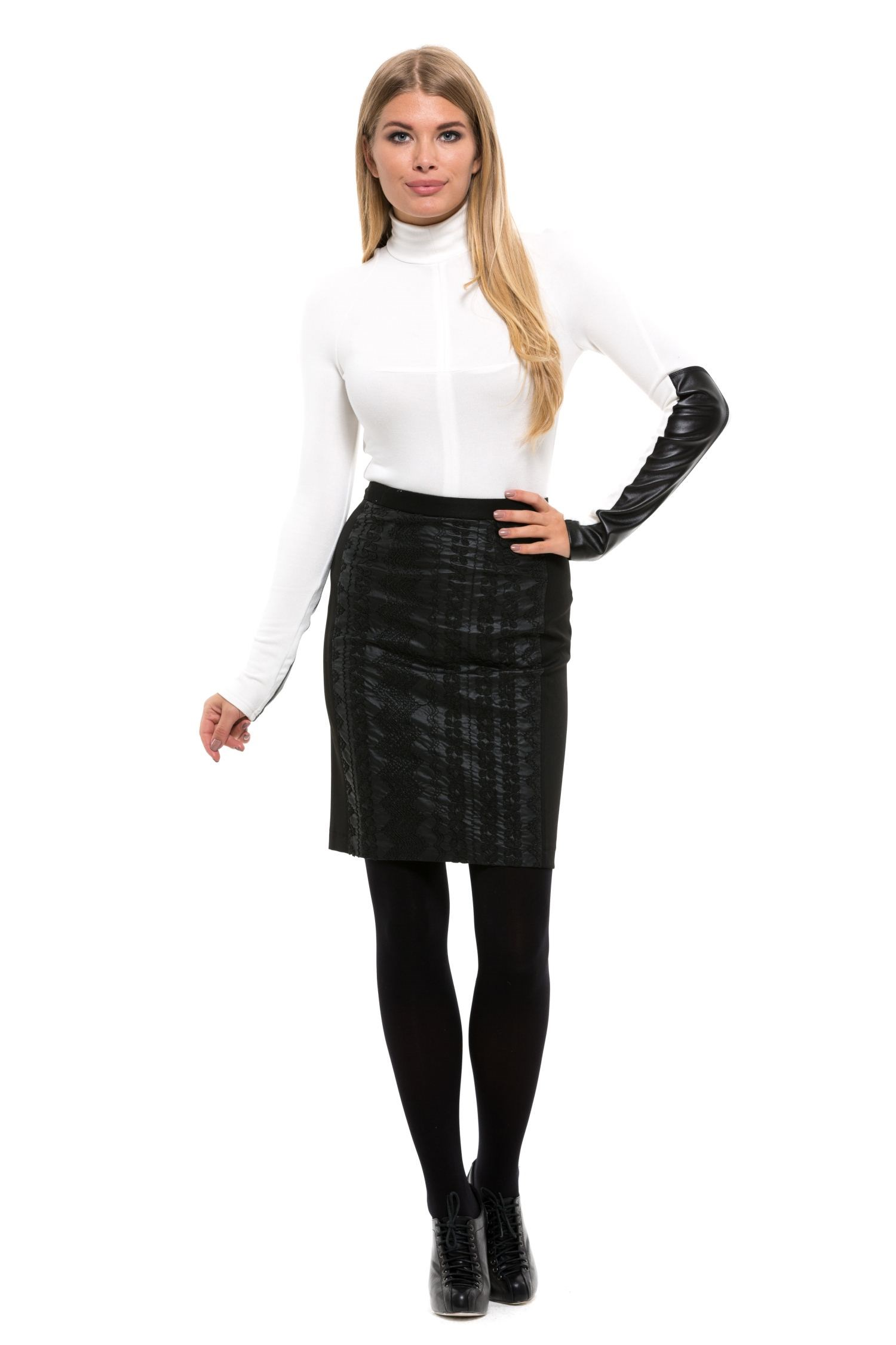 Skirt pencil knee-length and narrow Belt tie waist plaid pencil skirt