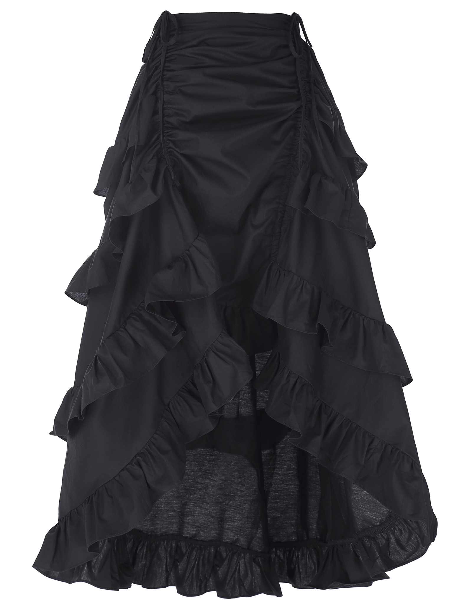 Womens Plus Size Victorian Gothic Steampunk Skirt Sexy Party Black Ruffles Vintage High Waist High Low Skirt 2018 New Style