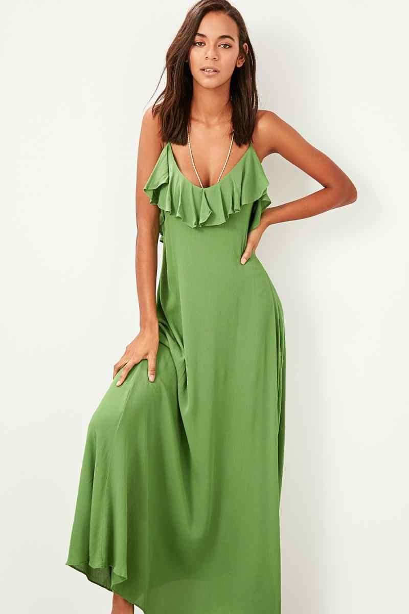 Trendyol зеленое платье с маховиком TBESS19WY0004