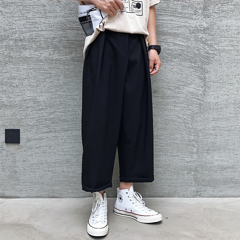 2019 Spring And Autumn The New Listing Products China Trends Couples Loose Solid Color Men's Casual Wear Nine Pants