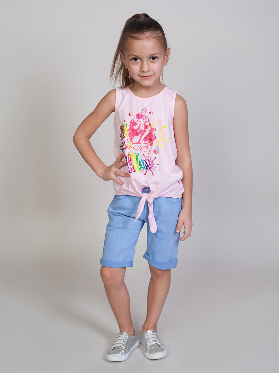 [Available with 10.11] Shorts textile for girls knot back striped top with shorts