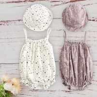 Algodão infantil crianças roupas meninas para o bebê recém-nascido 2019 verão roupa do bebê com boné combinado conjunto sem mangas