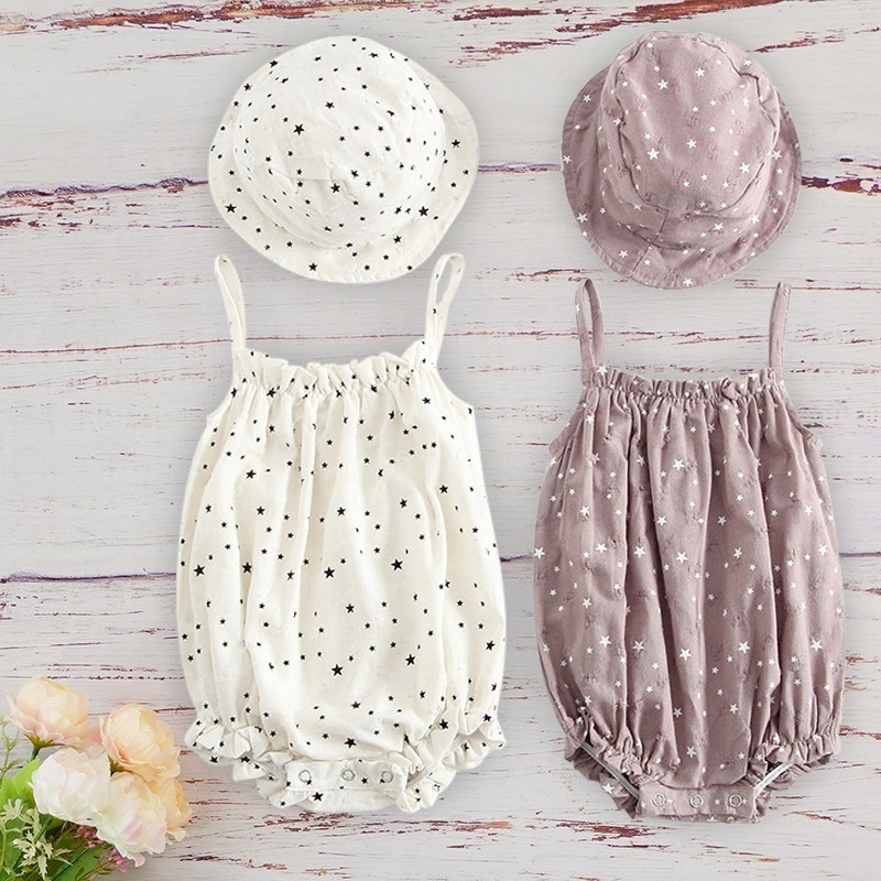 Infant Cotton Kids Clothes Girls For Newborn Baby 2020 Summer Baby Outfit With Matched Cap Set Sleeveless Roupa Menina Infantil