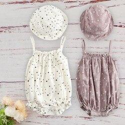 Roupas infantis de algodão, roupas para crianças, recém-nascidas, bebês, verão 2020, roupa com boné combinado, sem mangas