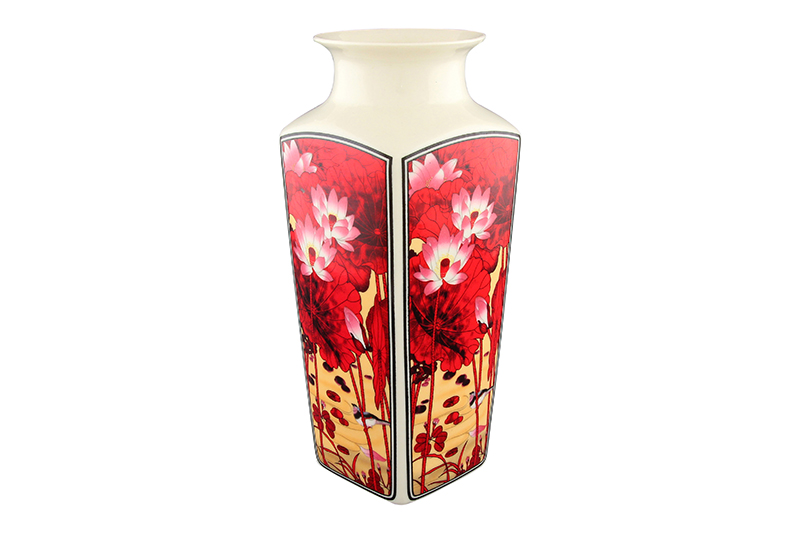 Available from 10.11Vase 7.5 * 7.5 * 20 cm. 900 ml. Lotus Flower round neck Elan Gallery 501913 white floral pattern round neck sleeveless dress