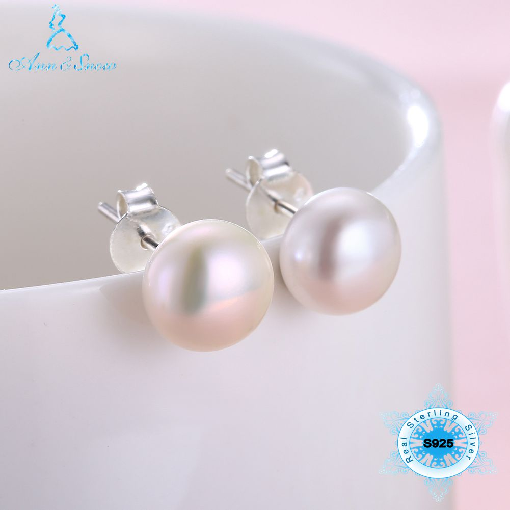 Pure 925 Sterling Silver Stud Earrings For Women Korean Gifts For Mom Cute Natural Real Freshwater Pearl Classic Fine Jewelry(China)