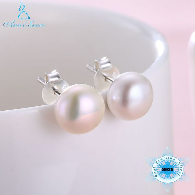 Pure 925 Sterling Silver Stud Earrings for Women Korean Gifts for Mom Cute Natural Real Freshwater Pearl Classic Fine Jewelry