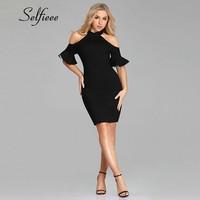 2019 New Arrival Sexy Party Dresses Sexy Halter Off Shoulder Short Sleeve Ruffles Little Black Women Dress Formal Short Gowns