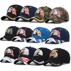 Image 2 - Mens Animal Farm Snap Back Trucker Hat Patriotic American Eagle and American Flag Baseball Cap USA 3D Embroidery