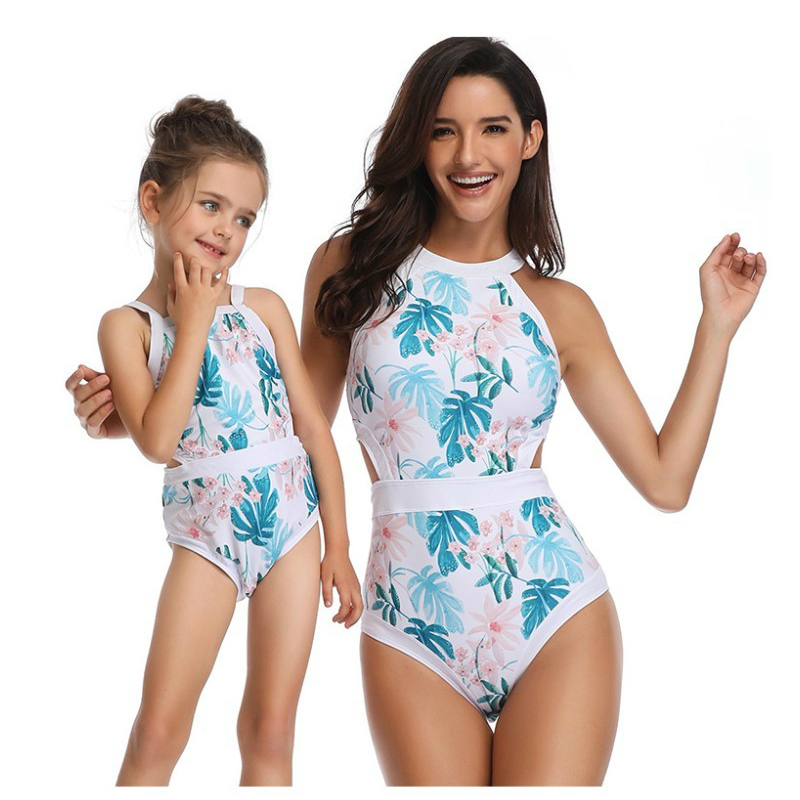 Mother Girl Swimwear Mommy and Me Matching One Piece Mother Daughter Monokini Bathing Beach Wear