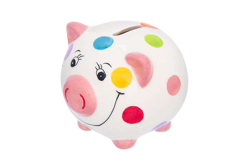 Available from 10.11 Piggy bank Pig pink with white peas Piglet Elan Gallery 380004
