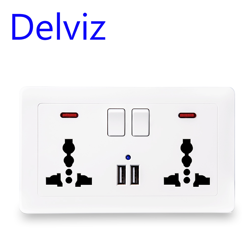 Delviz Wall 13A Power Socket +USB Global Universal 3 Hole UK Standard Switched Outlet, 2.1A Dual USB Charger Port On-off Control
