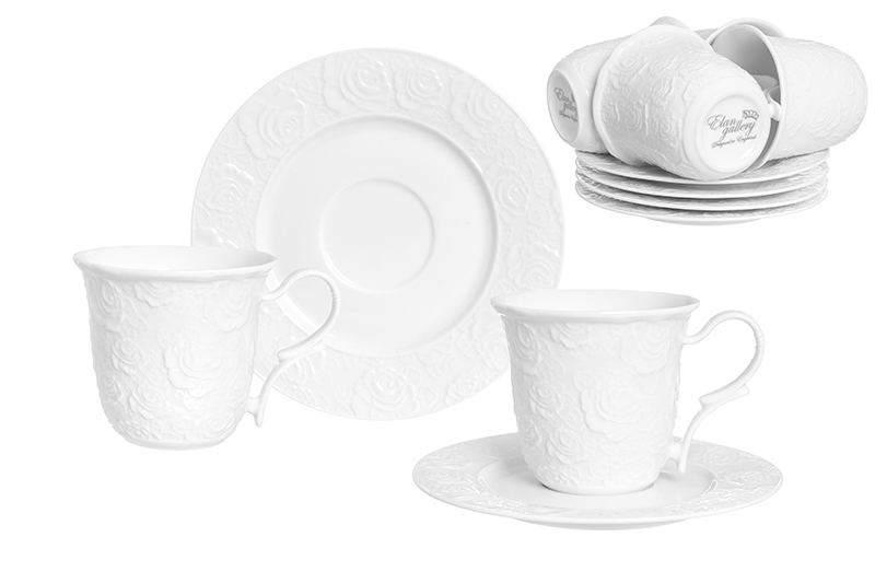 Available from 10.11 Tea set White Roses 12 items Elan Gallery 860044