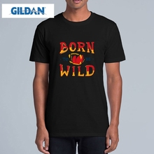 GILDAN Born To Be Wild t shirt Men Flame Letter Printed t-shirt Casual Male Tees Short Sleeve O Neck Tops Hip Hop Rock tshirt