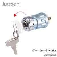Justech Универсальный 12 V зажигания цилиндровый переключатель блокировки + 2 Ключи 3-положение для автомобиля мотоциклетные Алюминий зажигания ...