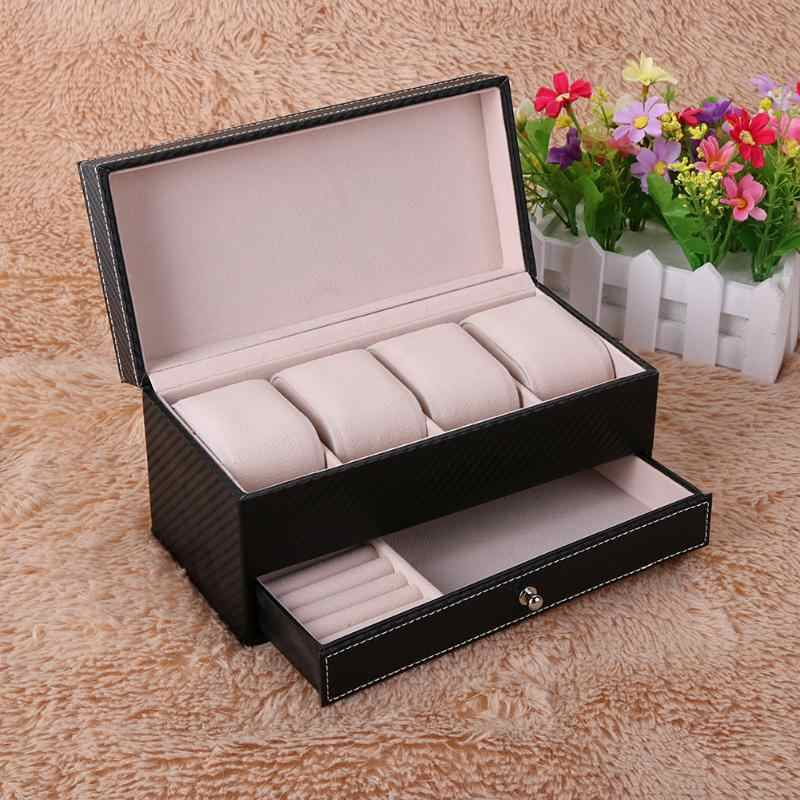 Hot Sell 4 Grids PU Leather Jewelry Watch Casket Box Holder with Drawer Make Up Organizer Watches Jewelry Casket Storage Box