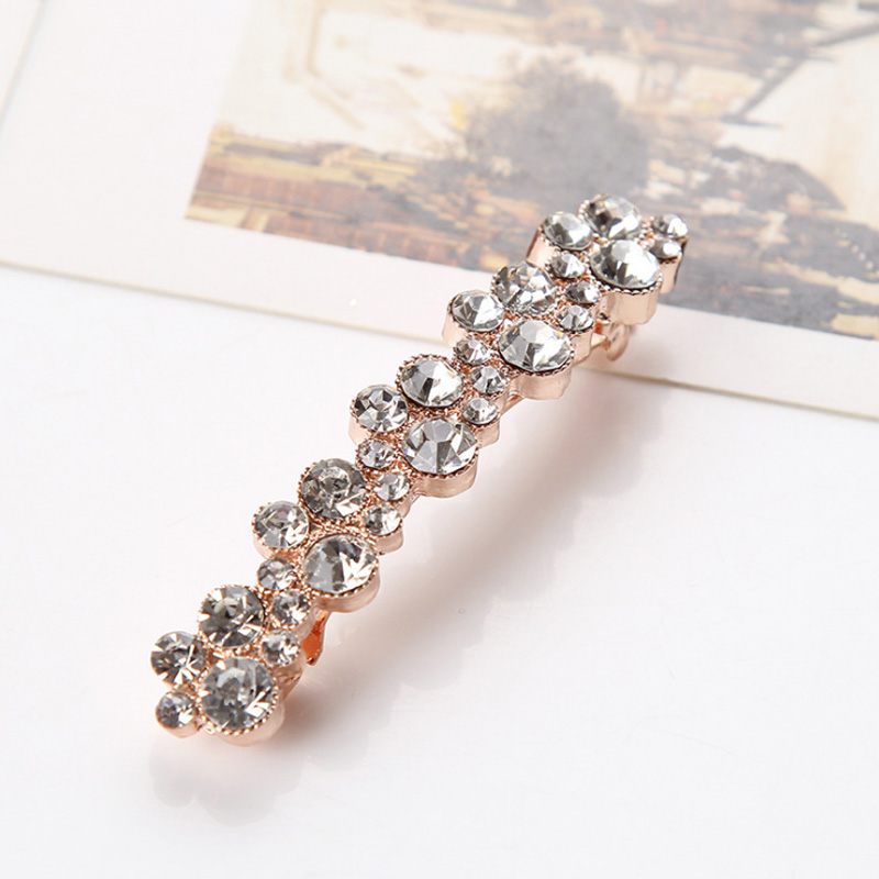 Fashion Rhinestones flower Black Hair clip For Women Hairgrips Korean Crystal Shining Girls Barrettes Hair Accessories in Hair Jewelry from Jewelry Accessories