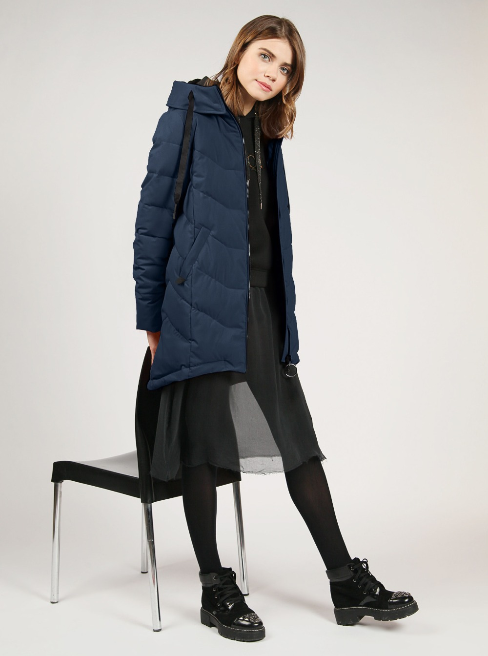 tom farr down jacket woman hooded 2018 winter female clothes coats T4F-W3602_67 two tone hooded patched casual jacket