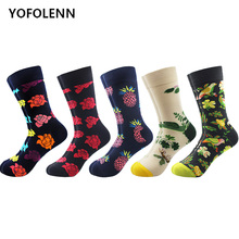 5 pair/lot Novelty Men's Funny Dress Combed Cotton Skateboard Socks Crew Casual Party Happy socks For Wedding Flower Pattern casual colorful men s crew party socks crazy cotton happy funny skateboard socks novelty male dress wedding socks gifts for men