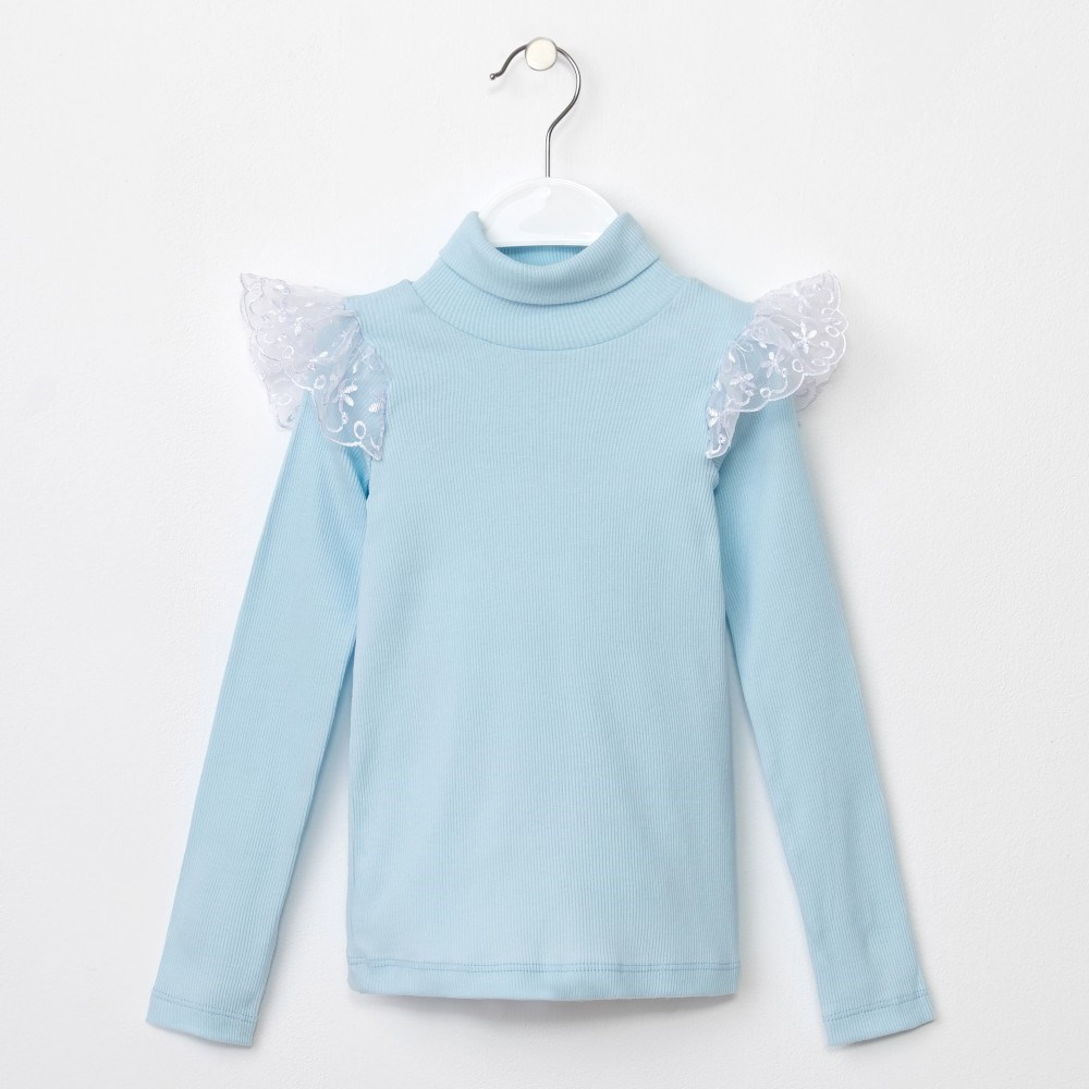 Turtleneck baby KAFTAN color Sky Blue 5 8 years blouse with belt color sky blue