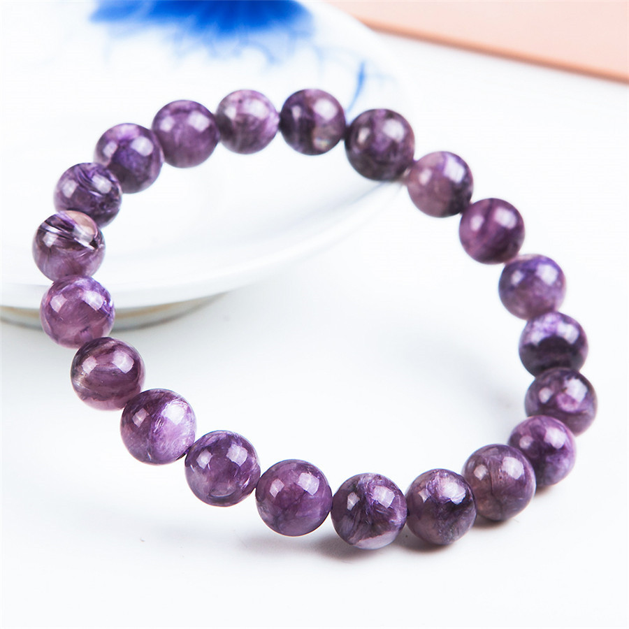 Fashion 100% Genuine Natural Purple Charoite Bracelet Gems 9mm Round Loose Beads Jewelry Charm Femme Bracelets Drop Shipping