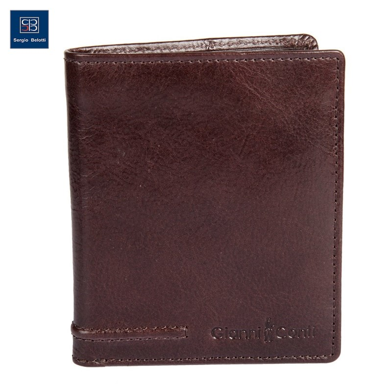 Coin Purse Gianni Conti 707105 Brown simline vintage genuine crazy horse cow leather men men s long hasp wallet wallets purse zipper coin pocket holder with chain