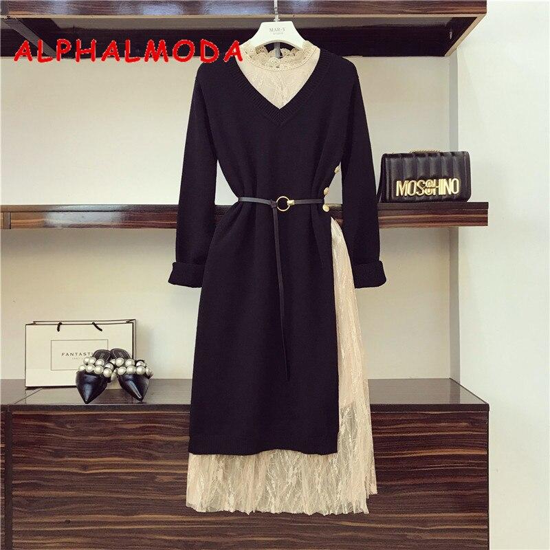 Alphalmoda Ol Elegant Sweater Dress 2pcs Set Pullover Loose Long-sleeved Knit Dress With Stylish Side Slit Buttons + Lace Dress