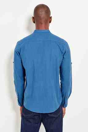 Beoordelen Hals Lange Mouw Heren Indigo Slim Fit Shirt Basic TMNSS19RS0039