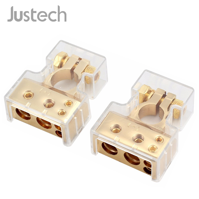 Justech Car Battery Terminal Connector W/ Cover Pair Kit Waterproof Dustproof Zinc Alloy Plastic Gold 4/8 Gauge AWG Terminals