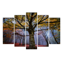 HD 5 Piece Canvas Painting Posters And Prints Autumn Forests Trees Canvas Painting Wall Frame For Living Room Free Shipping