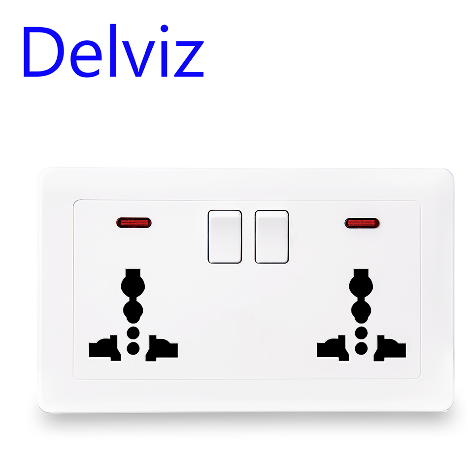Delviz EU Standard Universal Socket, With Switch Control Socket Function,UK White Multi-function International Three-hole Socket
